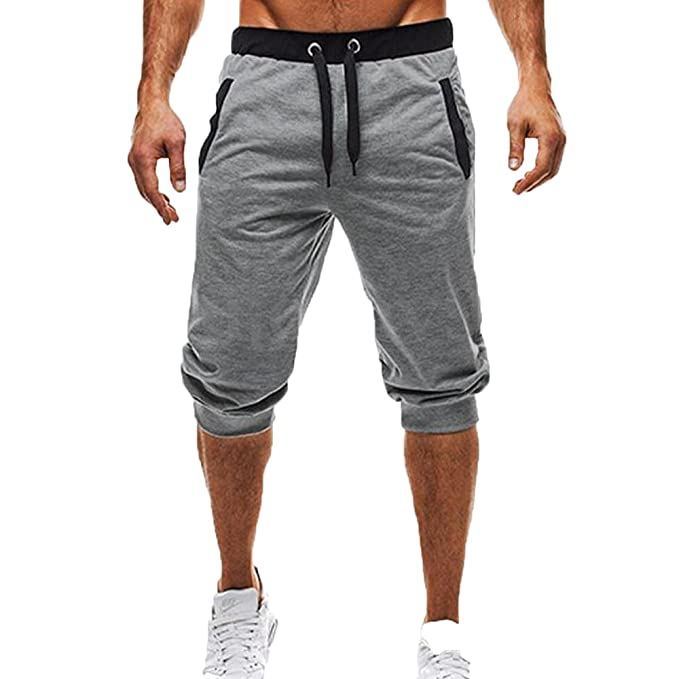 Worclub Hombre Gym 3/4 Pantalones Zip Pocket Fitness Sweatpants 2018 Nuevo algodón respirable Jogging Running Sport Pant RYEmJVdHJ