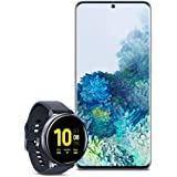Samsung Galaxy S20+ Plus 5G Factory Unlocked New Android Cell Phone US Version 128GB of Storage, Blue with Watch Active2 (44mm, GPS, Bluetooth), Aqua Black