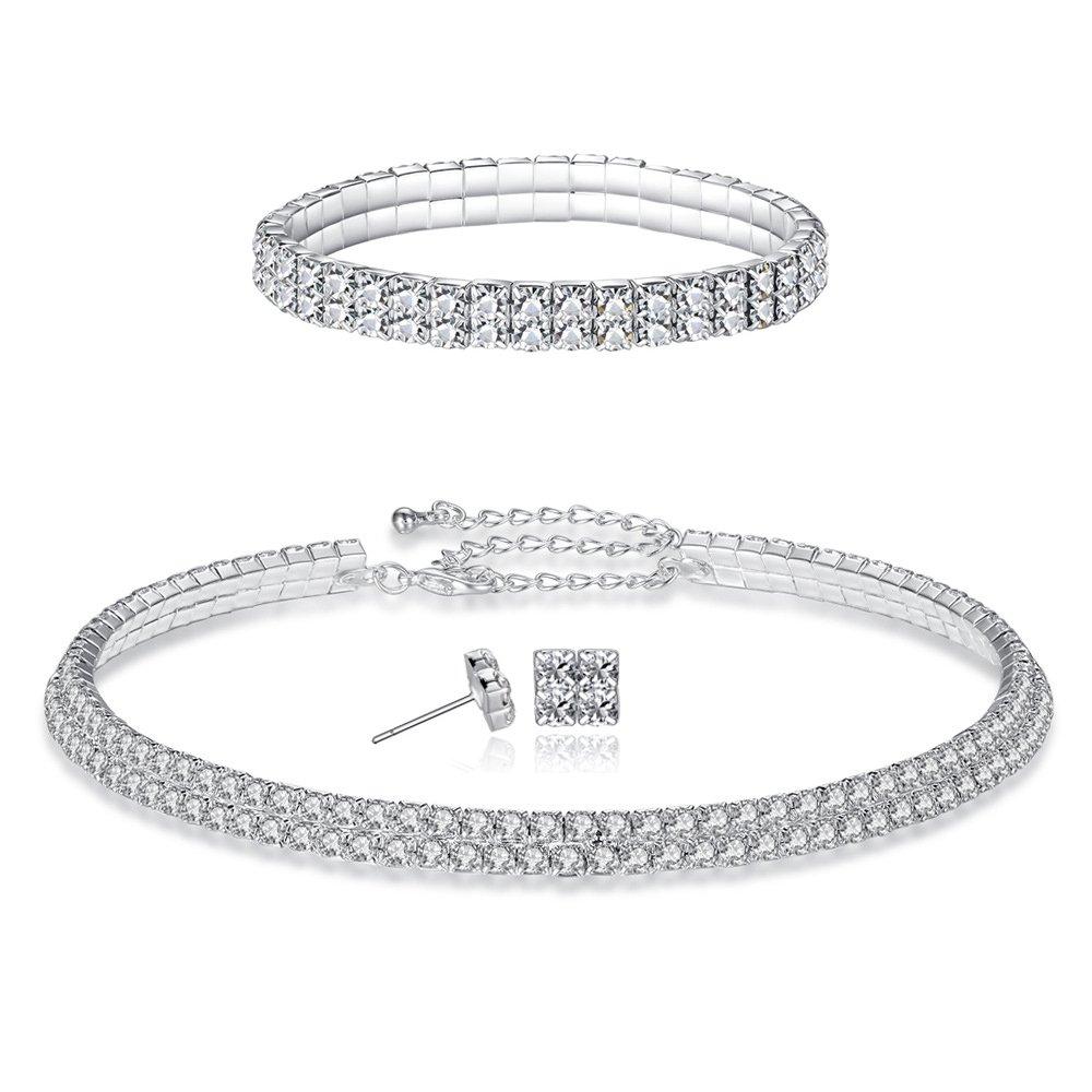 FANCY LOVE 1/2/3/4/5 Row Wedding Crystal Rhinestone Bridal Necklace Earrings and Bracelet Jewelry Set by FANCY LOVE JEWELRY (Image #1)
