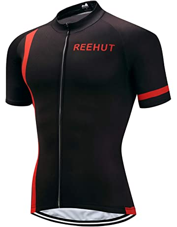 REEHUT Mens Breathable Cycling Jersey Biker Short Sleeve Shirt Quick Dry  Full Zip Men s Bicycle Jacket 869d95b13