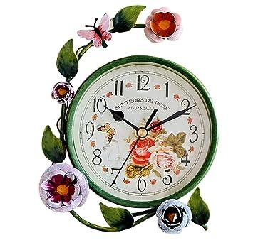 4e3592d95 S.W.H Horloge de Table Décorative avec Papillon et Fleurs Design Horloge de  Bureau Fer Maison Décor