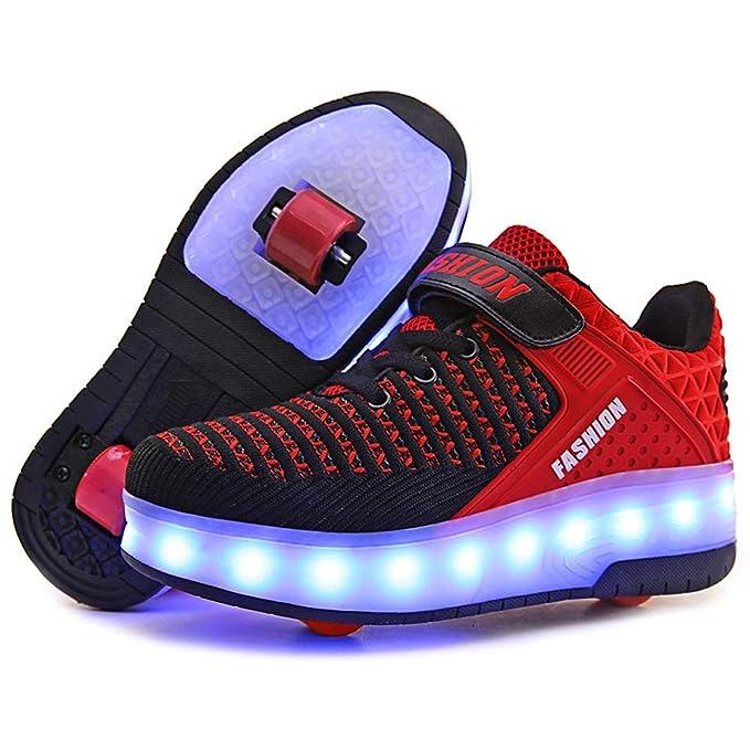 REWASD Zapatillas de skate para niños Rueda doble 7 colores Parpadeante Carga USB Zapatillas ruedas extraíbles Telescópico Entrenador cross para exterior ...