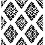 HaokHome 63227 Vintage Damask Peel and Stick Wallpaper Black/White Self Adhesive Contact Paper