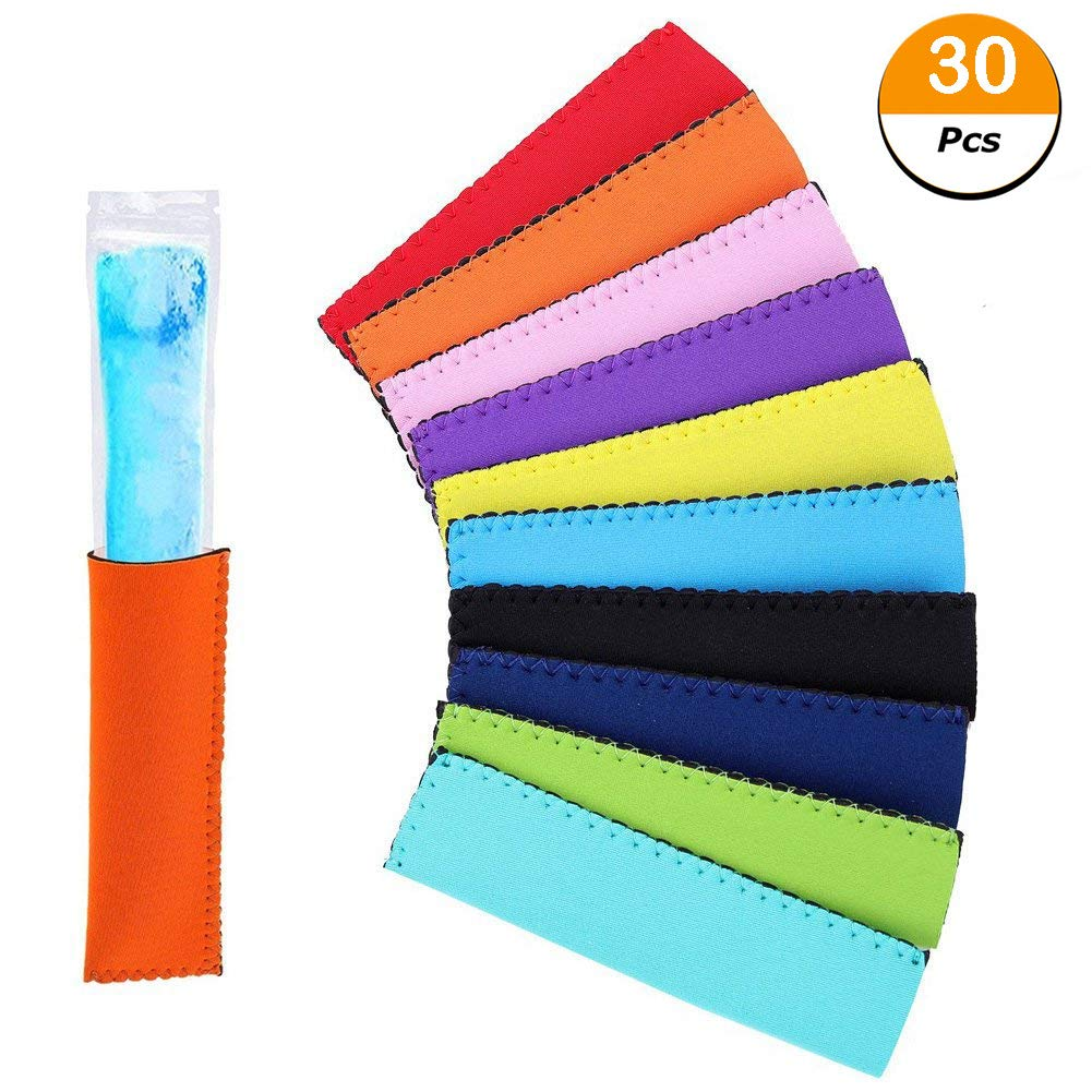 30 Pcs Neoprene Freezer Ice Pop Sleeves Popsicle Holders Bags, Reusable Popsicle Holders BPA-Free for Kids Party Drink -10 Colors