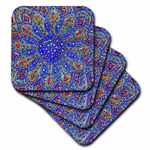 3dRose Danita Delimont - Patterns - Islamic Designs on Blue Pottery, Madaba, Jordan - set of 8 Ceramic Tile Coasters (cst_276903_4) by 3dRose