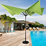 Cheap Sundale Outdoor 8.5 x 8.5 Ft Aluminum Market Umbrella with Hand Push for Patio, Garden, Deck, Backyard, Pool, Green Butterfly Shape, No Tilt