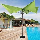 Sundale Outdoor 8.5 x 8.5 Ft Aluminum Market Umbrella with Hand Push for Patio, Garden, Deck, Backyard, Pool, Green Butterfly Shape, No Tilt