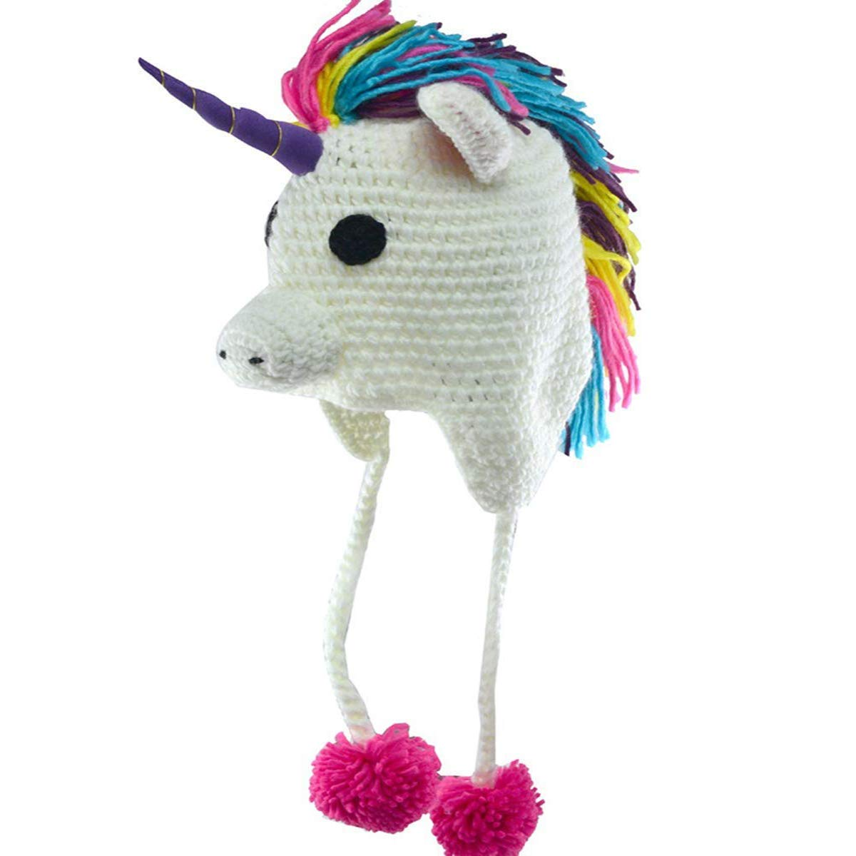 Lumanuby. Children Hat Wool Cap Cartoon Unicorn Handmade Knitted Hat For Boy And Girls Winter Warm Earmuffs Nice For Your Children