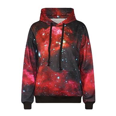 Mujer Sudaderas con Capucha Elegantes Galaxias 3D Digital Rojas Universo Basic Ropa Estampadas Sweatshirts Hoodies Invierno Otoño Manga Larga con Bolsillo ...