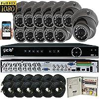 CIB Security H80P16K2T03G-12KIT 16CH 1080P HD Video Security DVR, 2TB HDD & 12x2.1-MP 1920TVL Night Vision Camera, Black