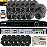 CIB Security H80P16K2T03G-12KIT 16CH 1080P HD Video Security DVR, 2TB HDD & 12×2.1-MP 1920TVL Night Vision Camera, Black