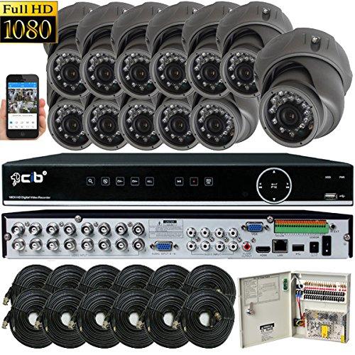 CIB Security H80P16K2T03G-12KIT 16CH 1080P HD Video Security DVR, 2TB HDD & 12×2.1-MP 1920TVL Night Vision Camera, Black