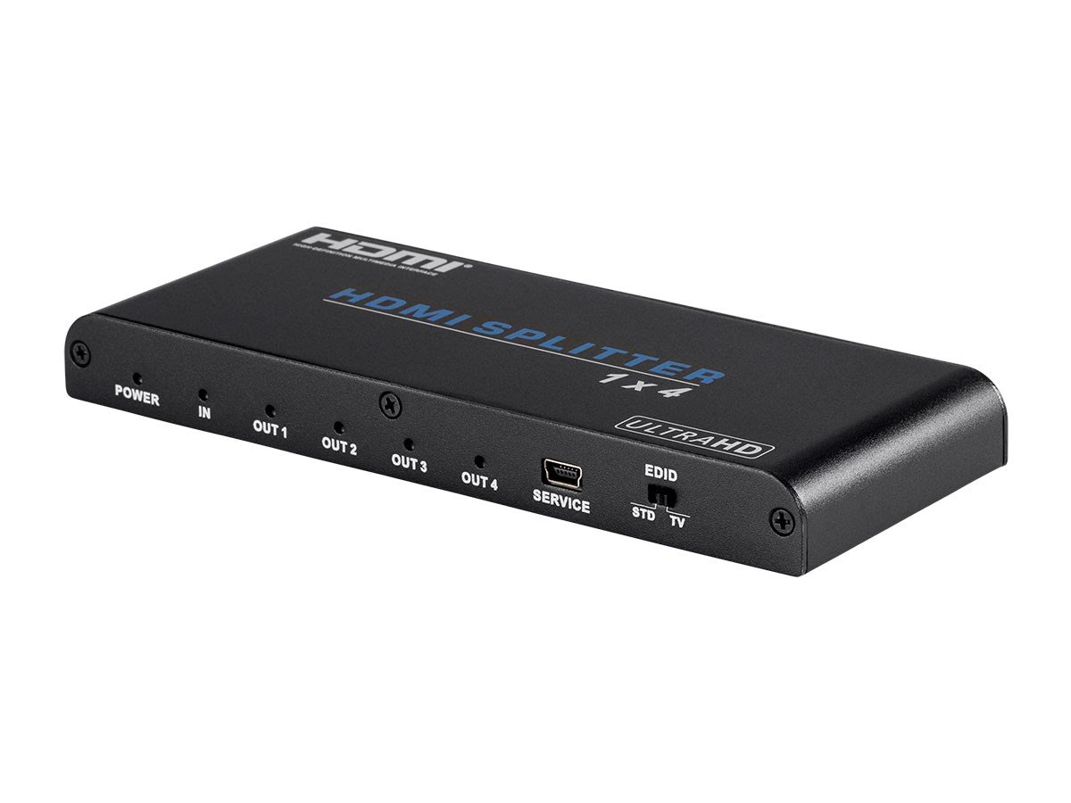 Monoprice Blackbird 4K Pro 1x4 HDMI Splitter with HDCP 2.2 and EDID Support