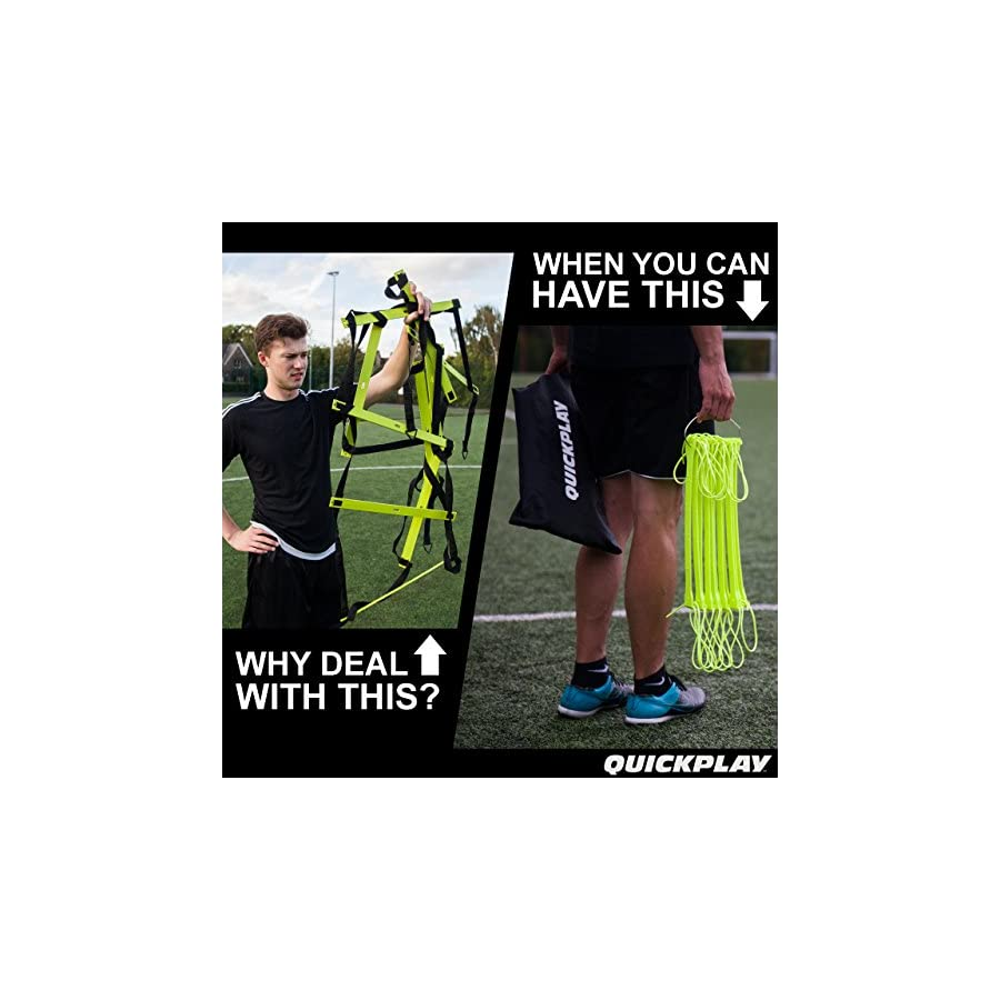 QuickPlay PRO No Tangle Agility Ladder with Quick Lock Adjustable Flat Rungs + Carry Bag (11 Rung) Multi Sport Speed Ladder/Training Ladder