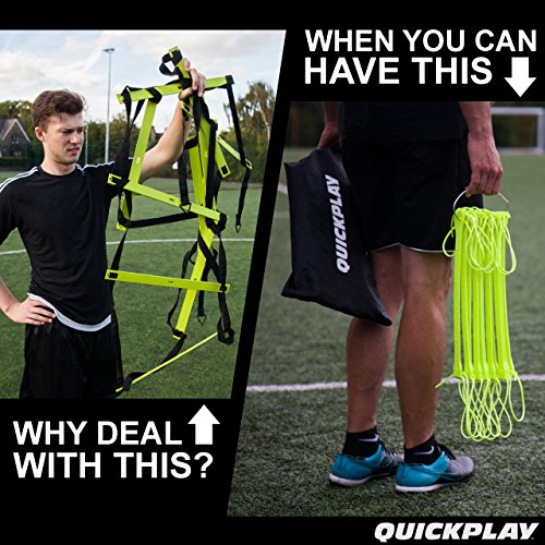QUICKPLAY PRO No Tangle Agility Ladder with Quick Lock Adjustable Flat Rungs + Carry Bag (11 Rung) Multi Sport Speed Ladder / Training Ladder