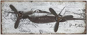 Deco 79 Metal Airplane Plaque, 46 by 18-Inch