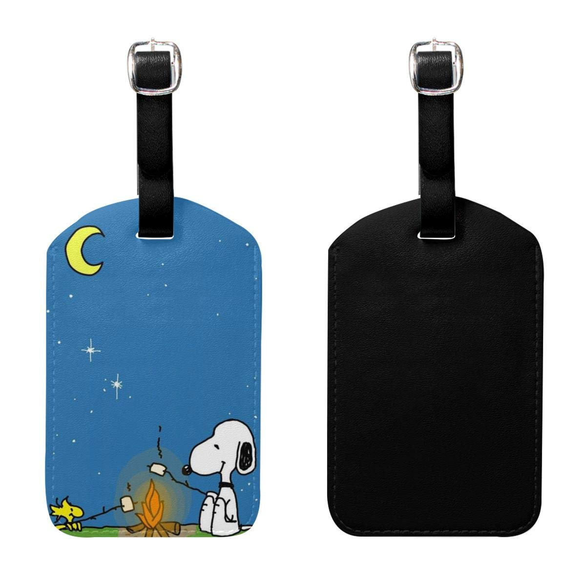 PU Leather Luggage Tags Snoopy BBQ Suitcase Labels Bag Adjustable Leather Strap Travel Accessories Set of 2