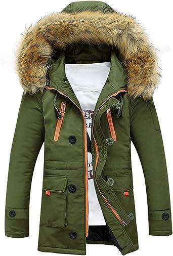 Manteau à Capuche Fourrure Homme Chaud Veste d'hiver Épais Parke Rembourrée Coton Parka Blouson Men Winter Hooded Jacket