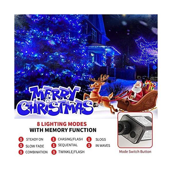 EPESL Luci natalizie 12m 120 leds con 8 modalità di memoria end to end estensibile catene luminose esterni ed interni decorazione per giorno di natale alberi casa Halloween festa giardino - blu 2 spesavip