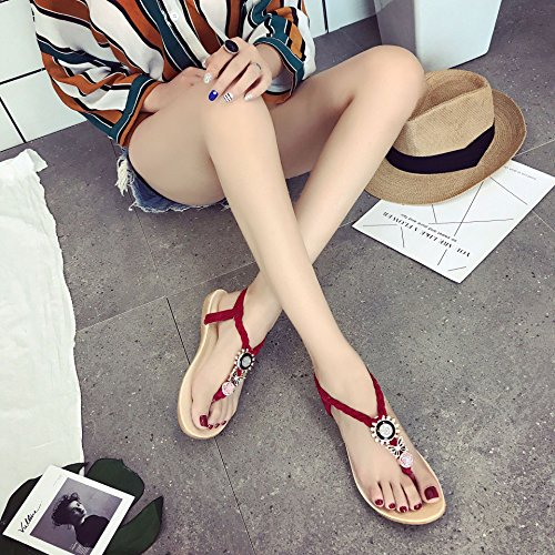 Flops Sandals Flip Beaded Fashion Clipping Sandals Toes Flat Women'S Claret Flat Casual Joker Women'S WHLShoes With Comfort zqBw8fzx