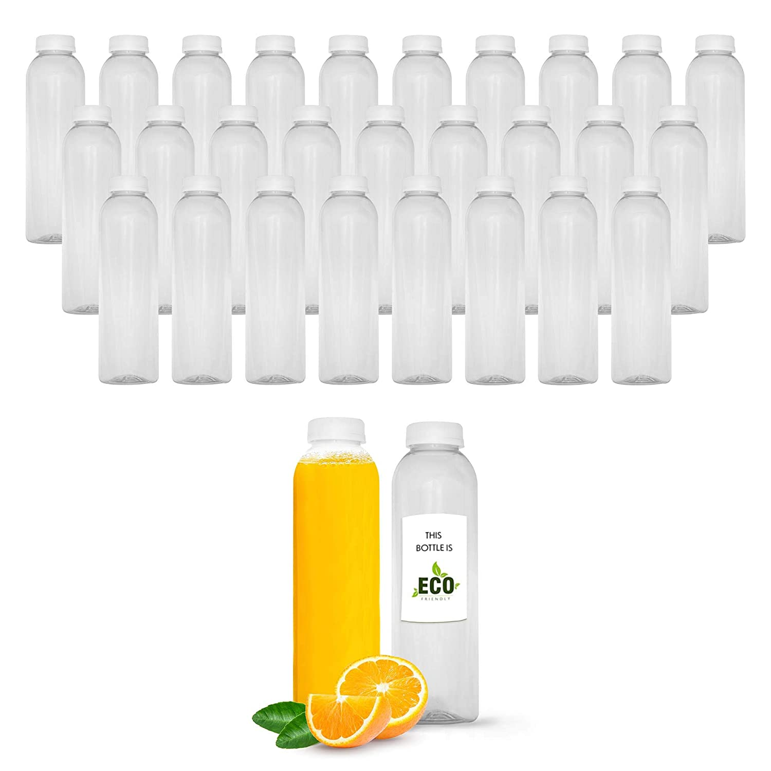 16 OZ Empty Eco Friendly Round PET Plastic Juice Bottles - Pack of 27 Reusable Clear Disposable Milk Bulk Containers with White Tamper Evident Caps Lids