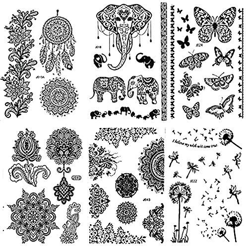 Pinkiou Henna Tattoo Stickers Lace Mehndi Temporary Tattoos for Maverick Women Teens Girls Metallic Tattooing Pack of 6 black
