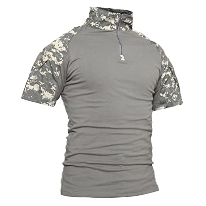 b6e8d49f6 TACVASEN Mens Camouflage Camo Tactical Assault Short Sleeve T-Shirt Tops ACU,US  S