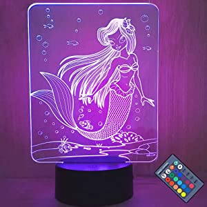 TOORGGOO Mermaid Gifts 3D Night Light for Kids with Remote & Smart Touch 7 Colors + 16 Colors Changing Dimmable 3D Illusion Lamp Light Mermaid Toys for 2 4 6 8 10 12 Year Old Girl and Boy. (23 Tall)
