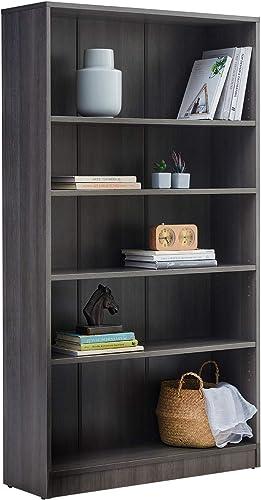 Cheap Vicllax Wood 5-Shelf Bookcase Layer Adjustable Mordern Bookshelf modern bookcase for sale