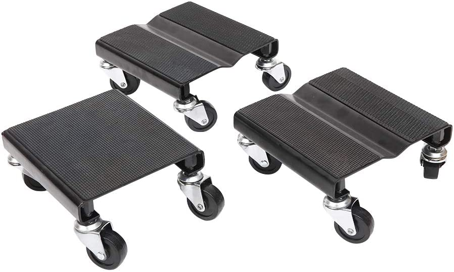 Snowmobile Dolly Snow Mobile Moving Rollers Dollies Movers Set of 3 1500-Lb Load Capacity Black