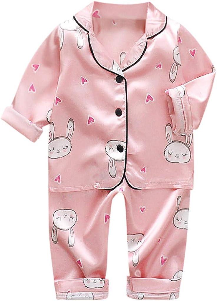 Little Boys Girls Baby Cartoon Bear Animal Button Tops Pants Pjs Sleepwear Outfits WOCACHI Toddler Kids Pajamas Sets