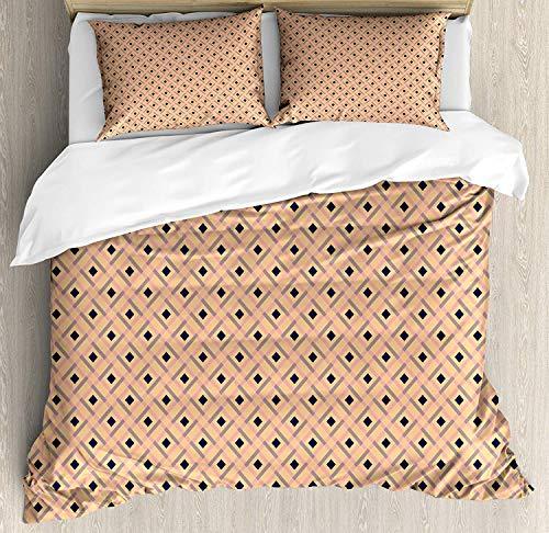Z&L Home Argyle Duvet Cover Bedding Sets Luxury Soft Flat Sheet Set with Pillow Shams for Kids Teen Girls Boys Men Women, Diagonal Stripes and Rhombuses Geometric Composition Pastel Colors