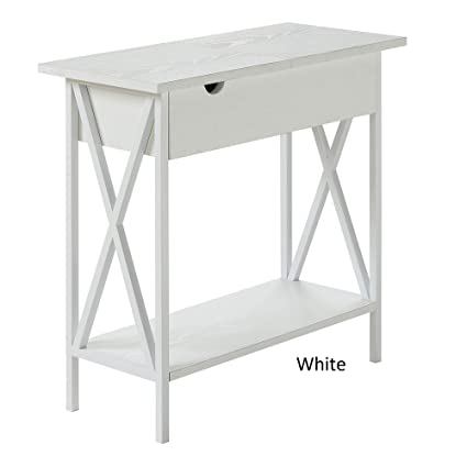 Modern Style Pitchfork Electric Flip Top End Table Power Outlet Within Its  Interior