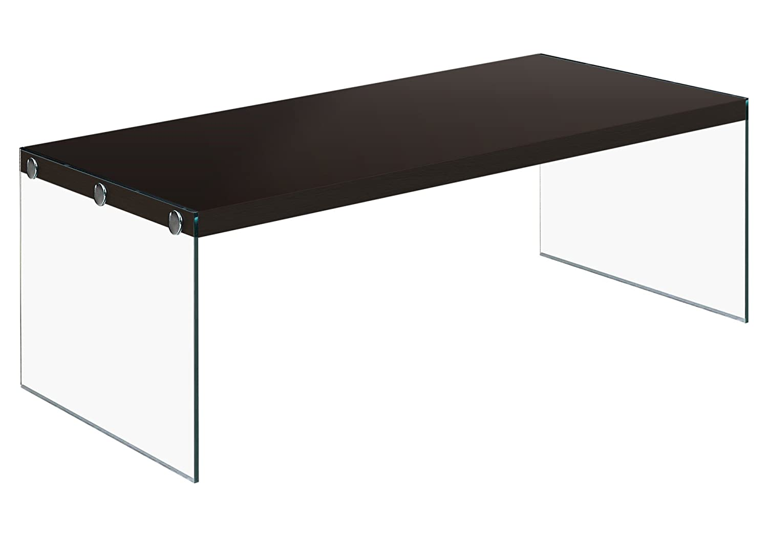 Monarch Specialties I 3280, Coffee Table, Tempered Glass, Cappuccino, 44