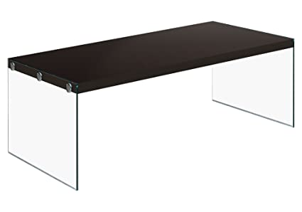 Monarch Specialties I 3280, Coffee Table, Tempered Glass, Cappuccino,  44u0026quot; ...