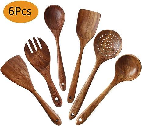 6PCS Set Hot Bambou Ustensile de Cuisine en bois ustensiles de cuisine Cuillère Spatule Mélange EL