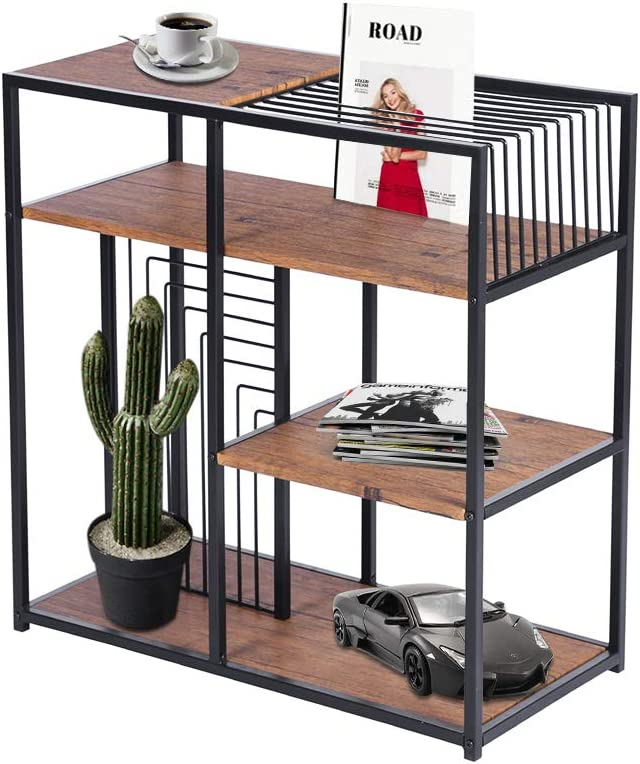 GreenForest 4 Tier Bookshelf Vintage Open Bookcase Storage Display Shelf with Metal Frame for Home Office,Walnut
