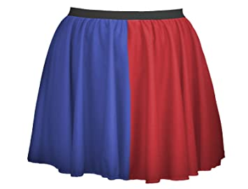 "612c3f870 Image Unavailable. Image not available for. Colour: Ladies Blue & Red  Harley Quinn 15"" Skater Skirt Harlequin Super Villain ..."