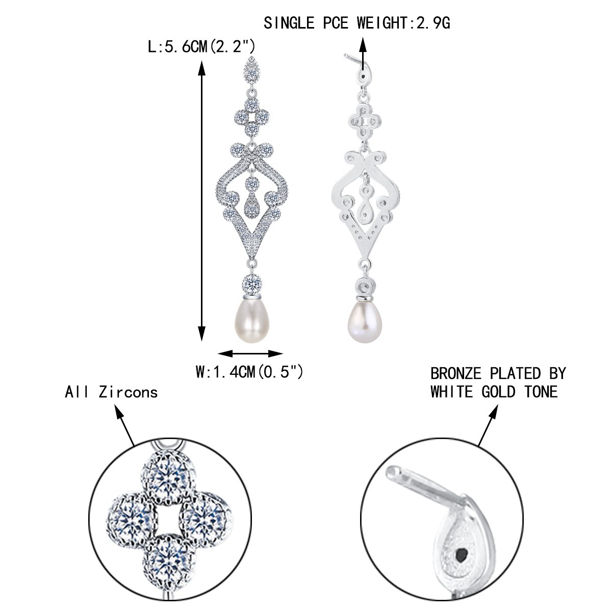 EVER FAITH Silver-Tone Pave CZ Cream Simulated Pearl Vintage Style Chandelier Dangle Earrings Clear by EVER FAITH (Image #5)