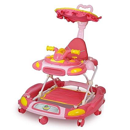 GUO@ Caminador de bebé Plegable antirrebrollo Carro de bebé multifunción 6/7-18