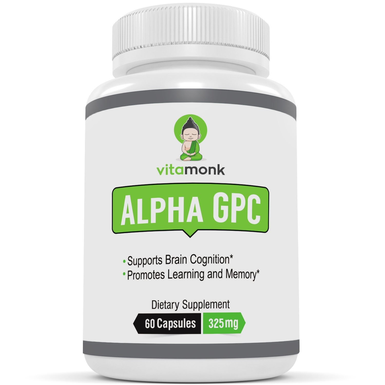 Alpha GPC Capsules by VitaMonkTM - Bioavailable Choline Supplement to Support Brain Cognition - 60 Alpha-GPC 325mg Capsules - No Artificial Fillers