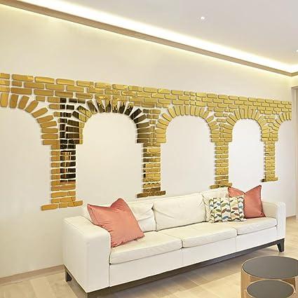 Amazon.com: Creazy 3D Mirror Brick Shape Vinyl Removable Wall ...