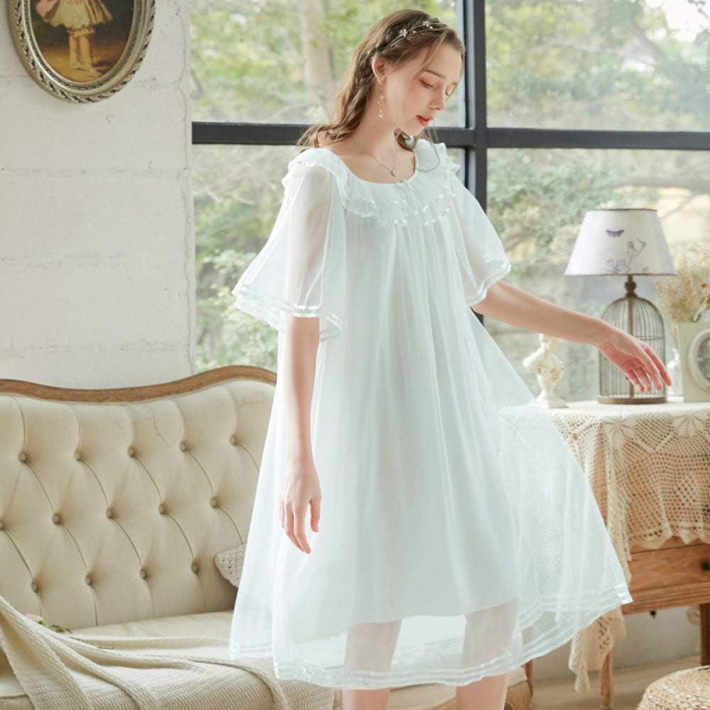 F Bianco Vestito da Notte Indumenti da Notte della Camicia da Notte degli Indumenti da Notte AUBERSIT /Indumenti da Notte delle Donne Manica Corta