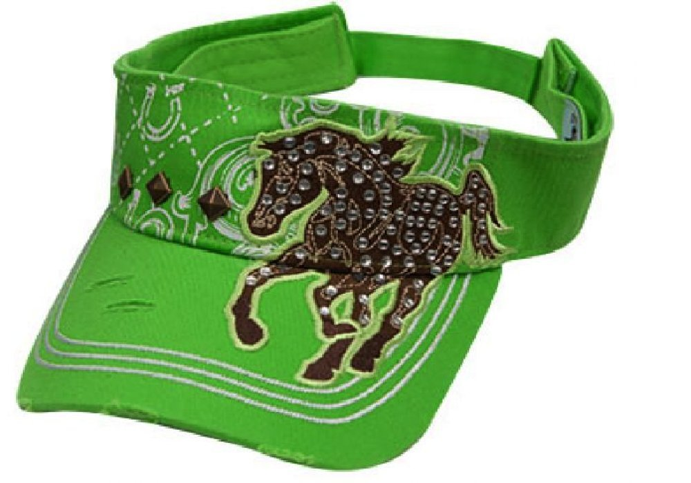 Ladies shinestone running horse visor Lime Green