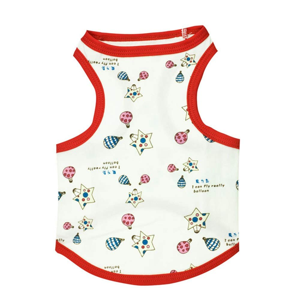 As shown S As shown S Huayue Cotton Red Edge Total Printed Balloon Pet Vest Dog T-Shirt Clothes (color   As Shown, Size   S)