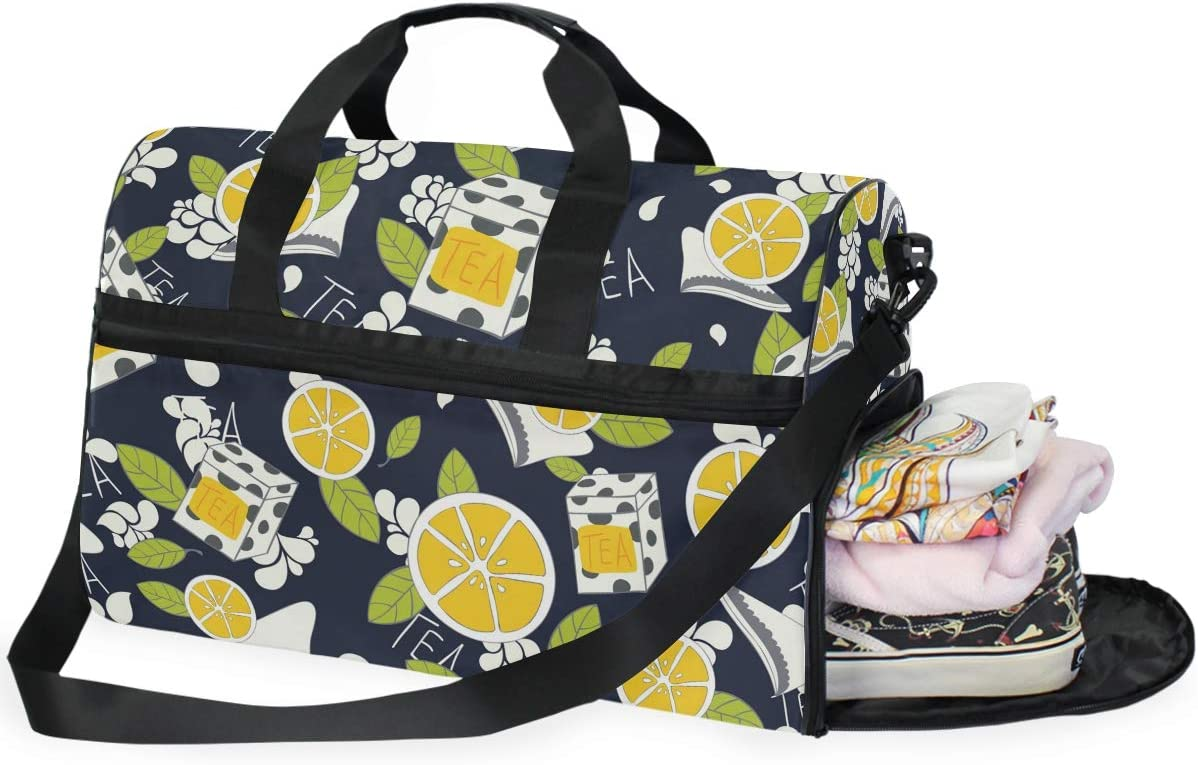 AHOMY Tea Lemon Leaf Sports Gym Bag with Shoes Compartment Travel Duffel Bag