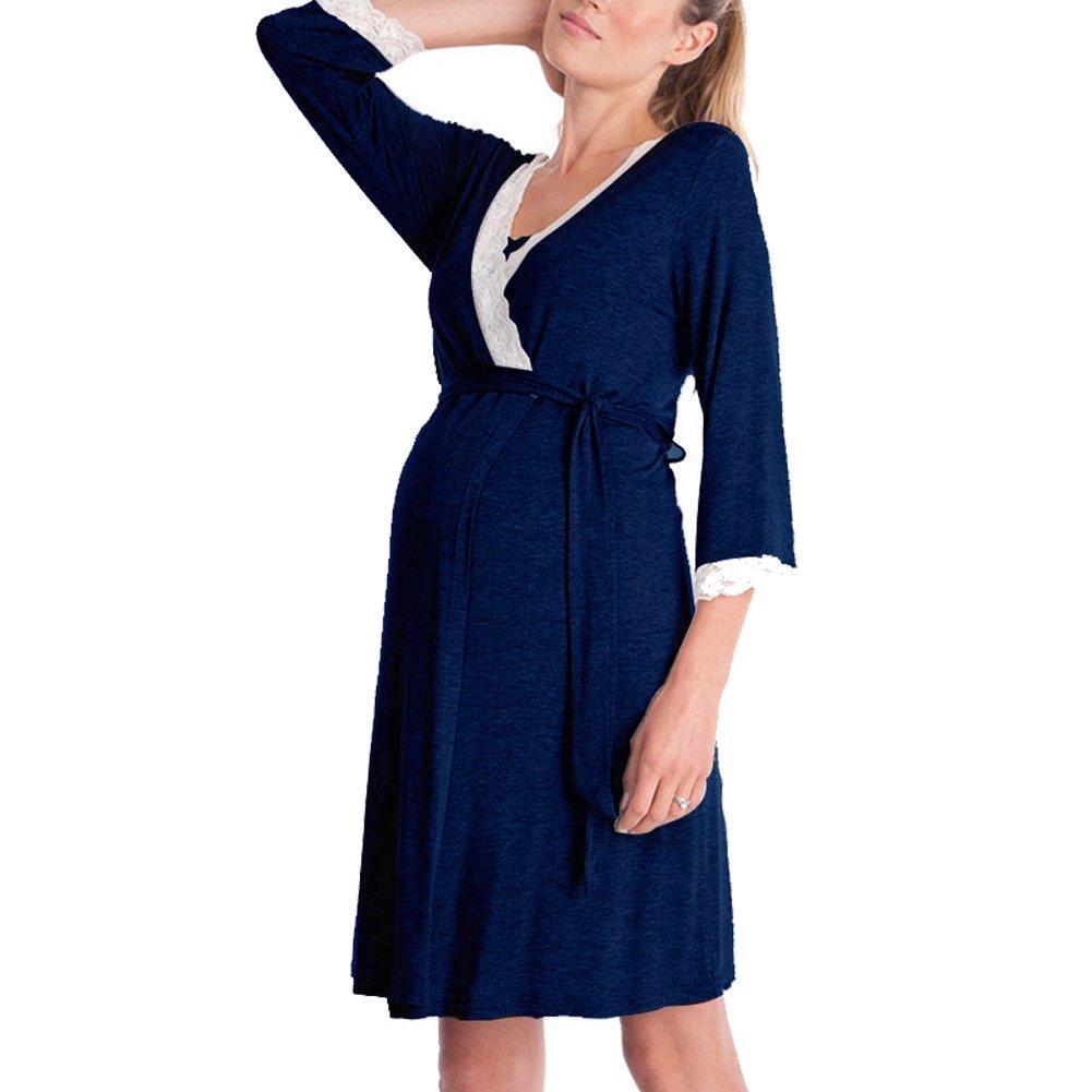 Oliveya Women 3/4 & Short Sleeve Maternity Dress Nursing/Breastfeeding Nightgown