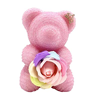 blue--net Crystal Diamond Shining Bear with Eternal Rose Flower, Crystal Rhinestone Bear with Emulated Flower for Birthday: Home & Kitchen