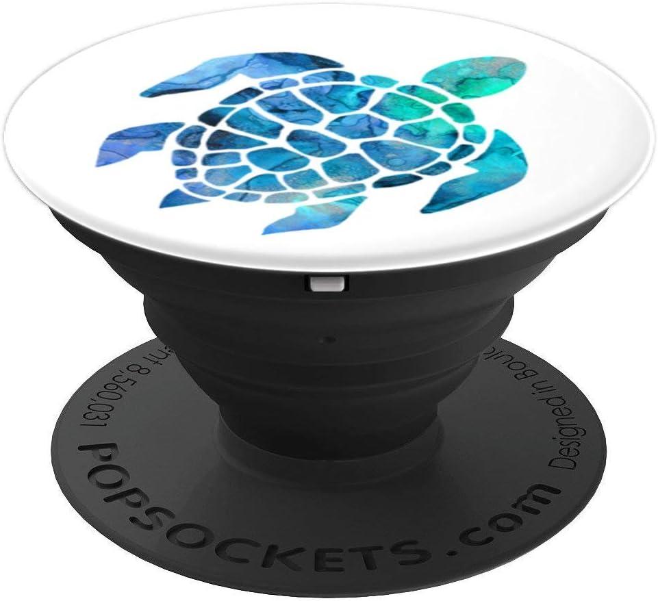 Tortuga Marina Azul y Verde Efecto acuarela sobre blanco PopSockets Agarre y Soporte para Tel/éfonos y Tabletas