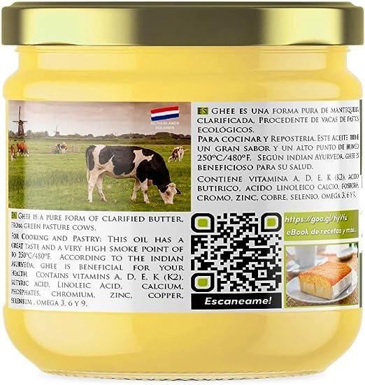 Naturseed Ghee Organico - Mantequilla Clarificada Bio Pura Ayurveda - 300gr - Sin Lactosa - Vacas alimentadas sólo de pastos ecologicos - Sabor Dulce ...